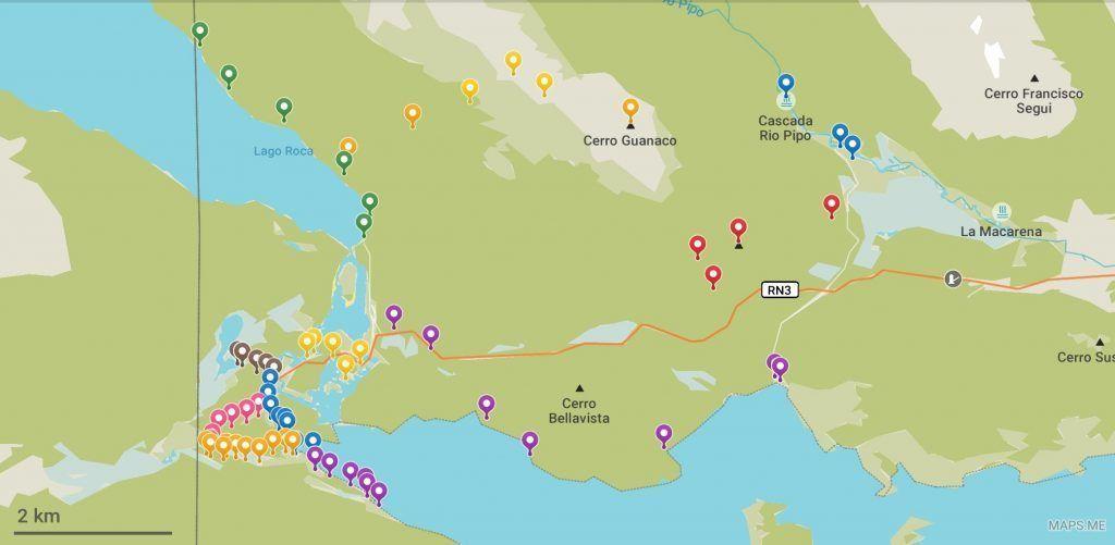 Mapa con los senderos para visitar el Parque Nacional Tierra del Fuego